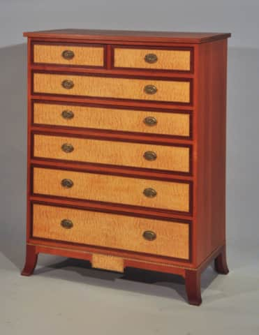 """His"" - Tall chest in Mahogany, Fiddleback Makore, Curly Sycamore, Ebony and Holly"