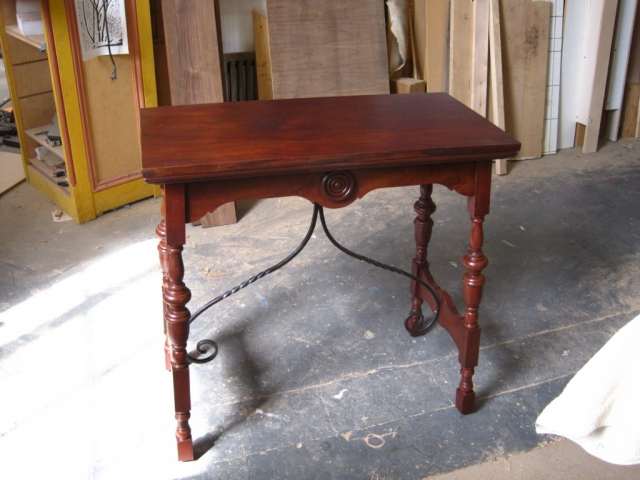 Spanish Revival Side Table - Mahogany and wrought iron