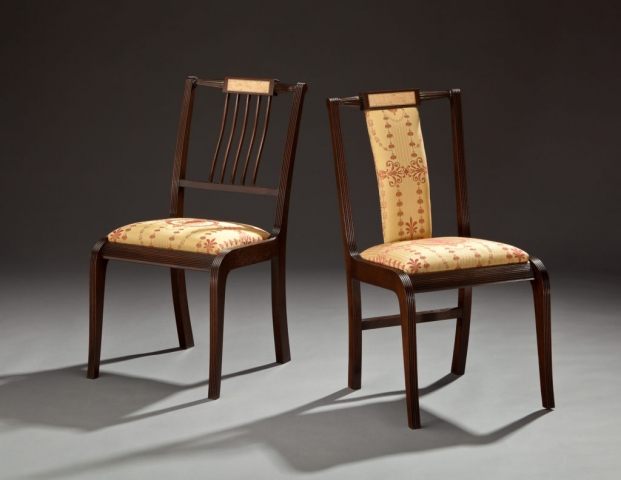 His and Hers Chairs - Mahogany, Crotch Birch, Ebony, Holly