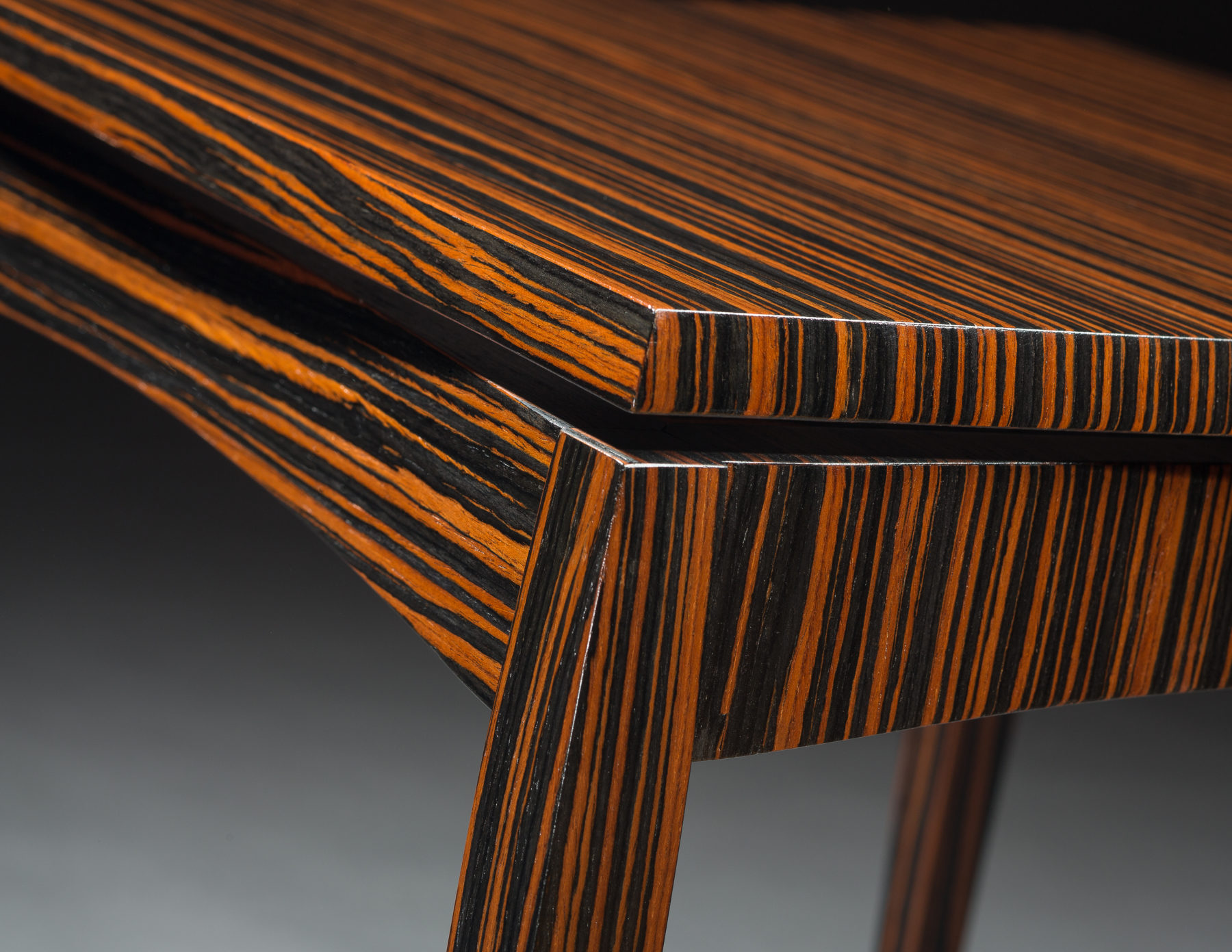 Wonderful Side By Side Tables   Corner Detail   Macassar Ebony, 23k Gold