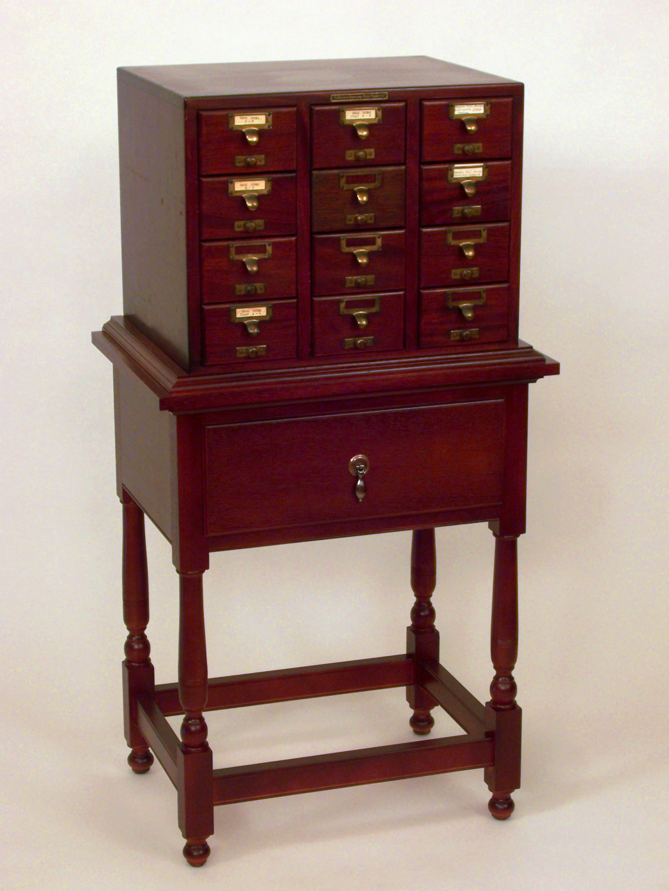 Library Card File on Stand - Mahogany