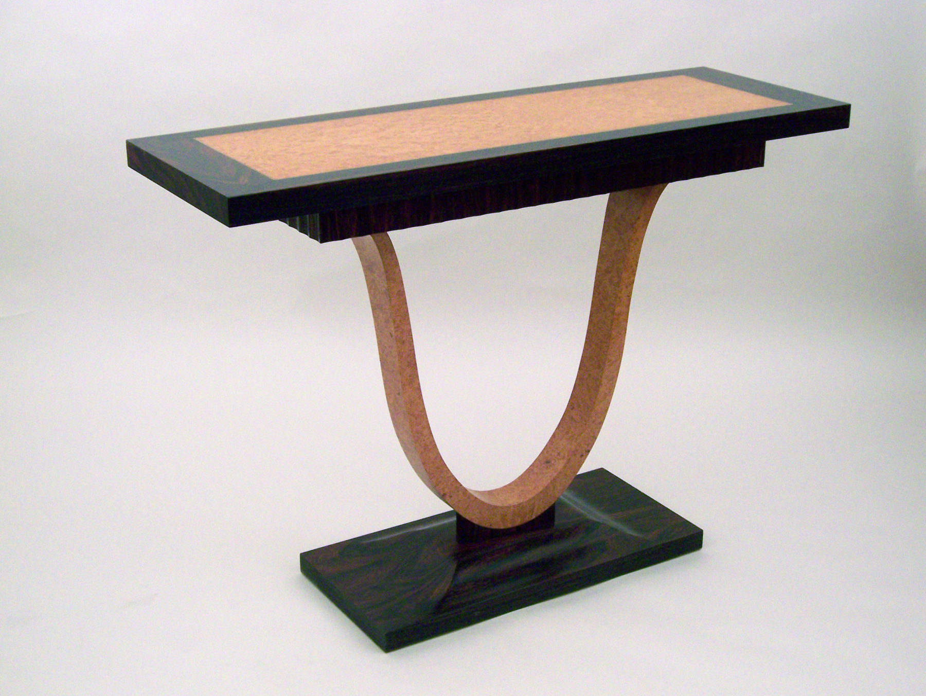 Deco Console - Rosewood, Maple Burl, Holly, Ebony