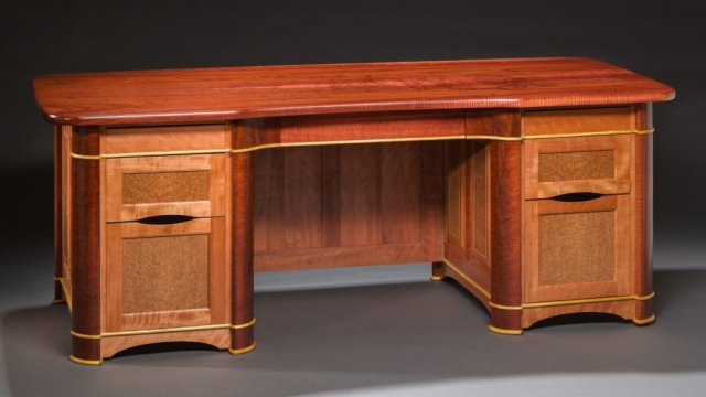 Custom desk builder Richard Oedel designed this with Curly Jarrah, Satinwood, Myrtle, Eucalyptus