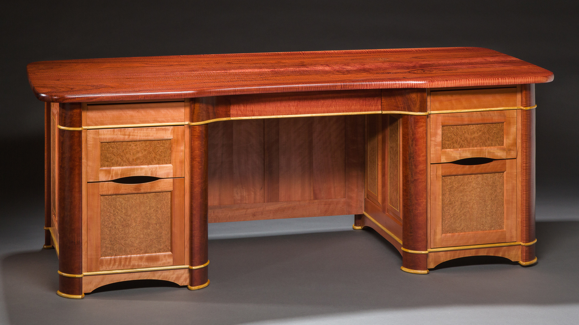 Megan's Desk - Curly Jarrah, Satinwood, Myrtle, Eucalyptus
