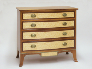 Custom built Portsmouth style Serpentine chest by cabinet maker Richard Oedel