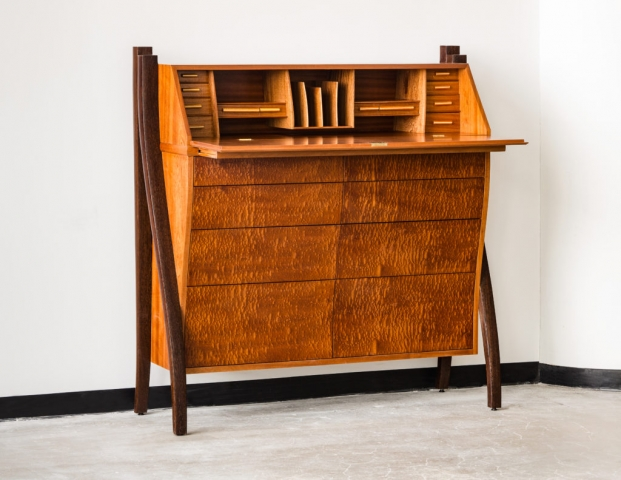 Custom made desk handcrafted in Sapele, Mahogany, Wenge, Holly