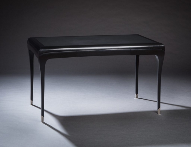 Custom design desk in black lacquer with silver feet and leather top