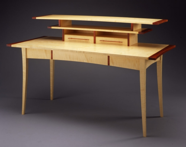 Custom Miyajima Desk - handcrafted with Curly Sycamore, Cocobolo
