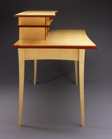 Custom Miyajima Desk - Side - Curly Sycamore, Cocobolo