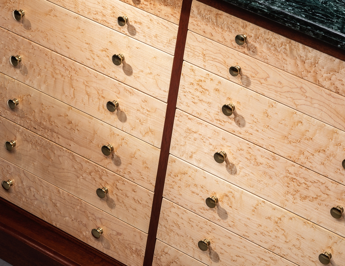 Drawer detail of Credenza and jewelry case in mahogany, birdseye maple, marble and brass by Richard Oedel Furniture Master